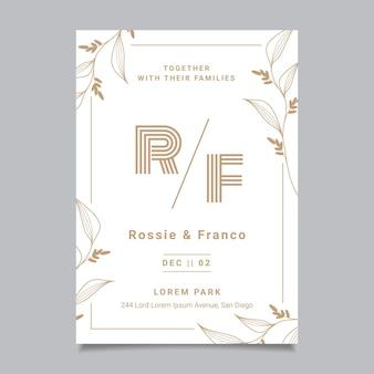 Modelo de convite de casamento floral desenhado à mão Vetor grátis