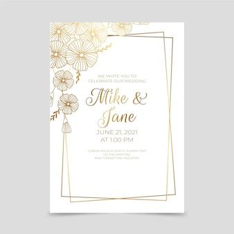 Modelo de convite de casamento floral dourado gradiente