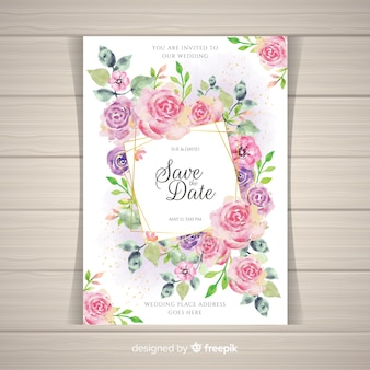 Modelo de convite de casamento floral elegante com elementos dourados
