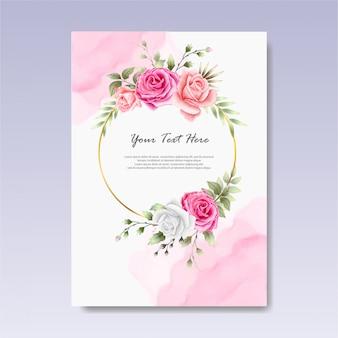 Modelo de convite de casamento floral elegante e bonito