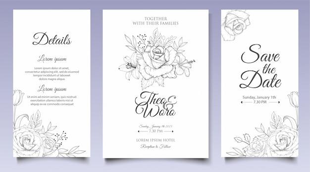 Modelo de convite de casamento floral elegante mão desenhada