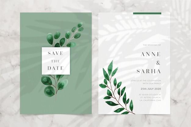 Modelo de convite de casamento floral elegante minimalista