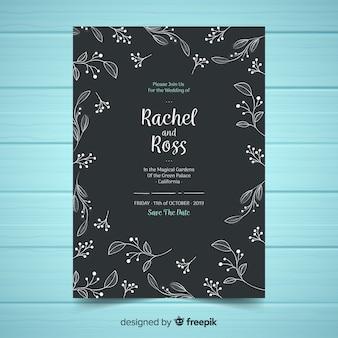 Modelo de convite de casamento floral elegante