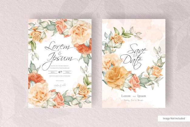Modelo de convite de casamento floral em aquarela em estilo de design minimalista