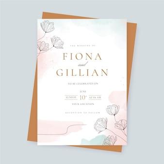 Modelo de convite de casamento floral em aquarela
