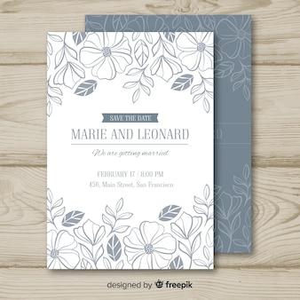 Modelo de convite de casamento floral incolor