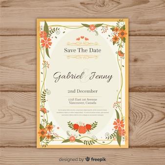 Modelo de convite de casamento floral lindo com moldura dourada