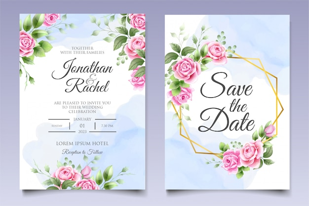 Modelo de convite de casamento floral lindo em azul clássico