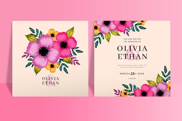 Modelo de convite de casamento floral lindo