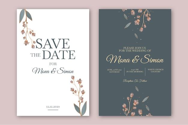 Modelo de convite de casamento floral minimalista