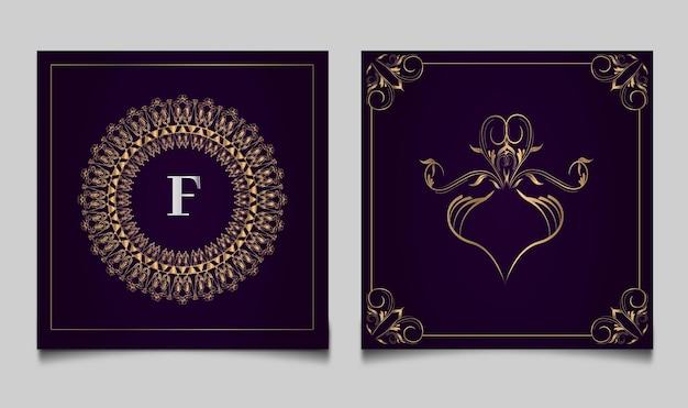 Modelo de convite de casamento floral monoline dourado