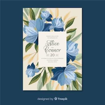 Modelo de convite de casamento floral pintado à mão azul