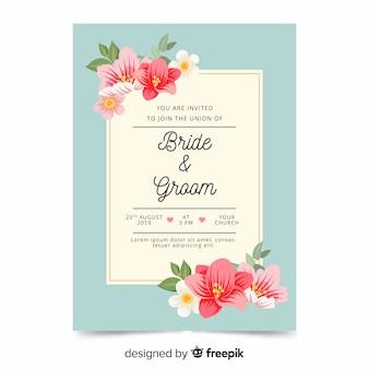 Modelo de convite de casamento floral plana