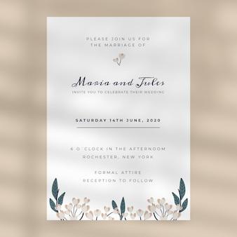 Modelo de convite de casamento floral plano orgânico