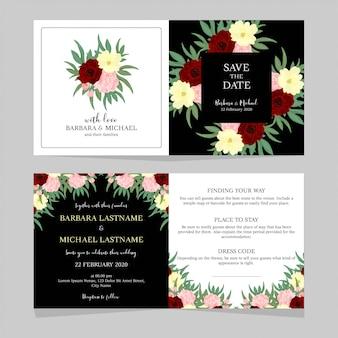 Modelo de convite de casamento floral preto e branco