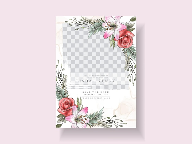 Modelo de convite de casamento floral romântico
