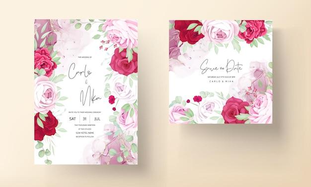 Modelo de convite de casamento floral rosa e vermelho romântico com fundo de tinta alcoólica