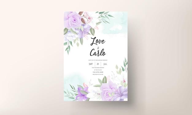 Modelo de convite de casamento floral roxo lindo desenhado à mão