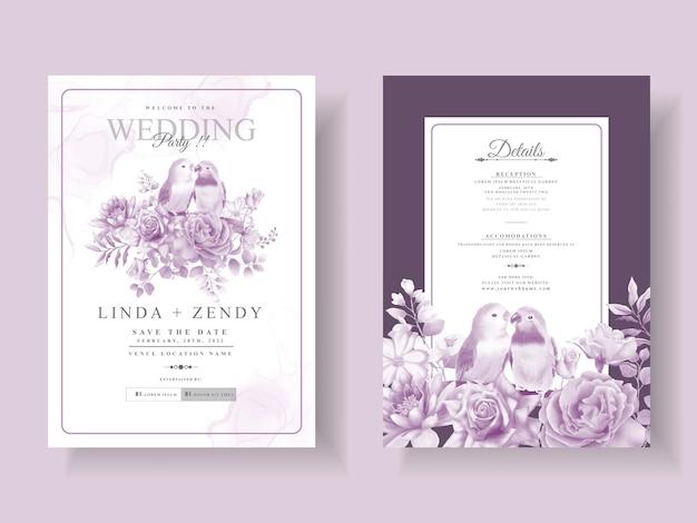 Modelo de convite de casamento floral roxo