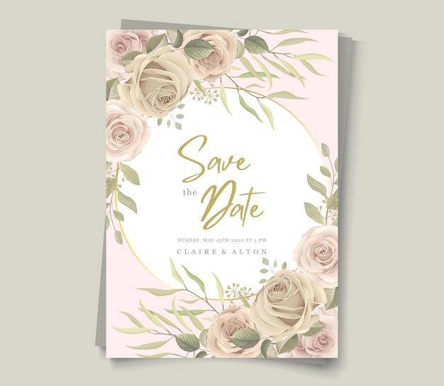 Modelo de convite de casamento floral suave