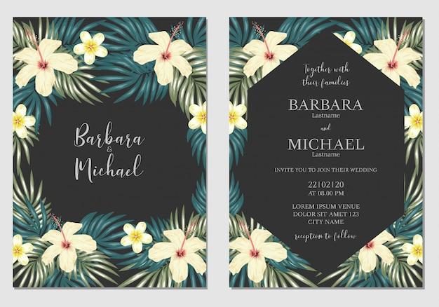 Modelo de convite de casamento floral tropical
