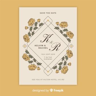 Modelo de convite de casamento floral vintage