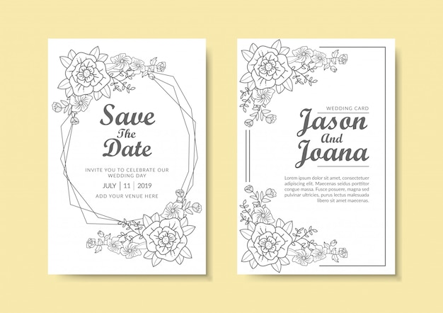 Modelo de convite de casamento floral.