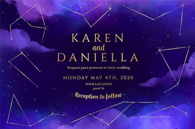 Modelo de convite de casamento galáxia em aquarela