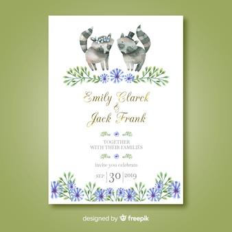 Modelo de convite de casamento guaxinim em aquarela