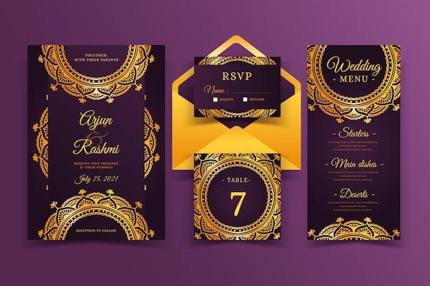 Modelo de convite de casamento indiano elegante