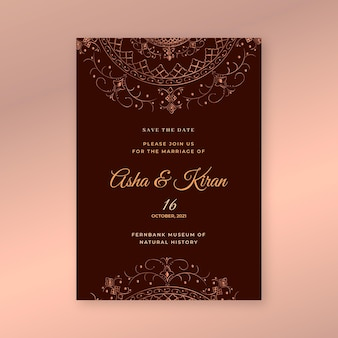 Modelo de convite de casamento indiano