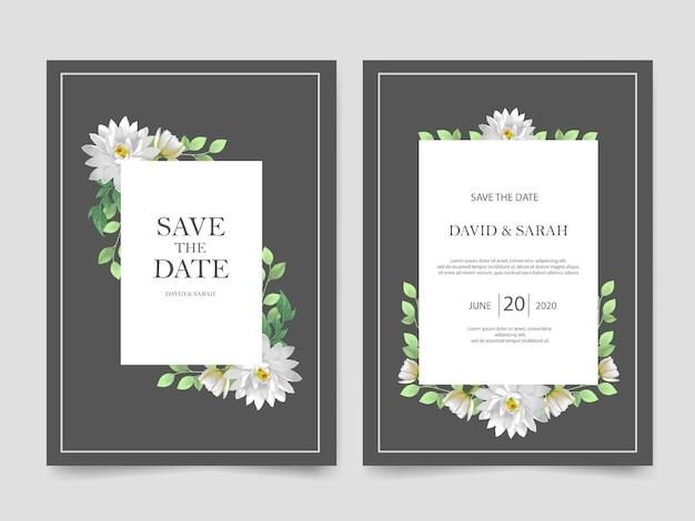 Modelo de convite de casamento linda flor branca