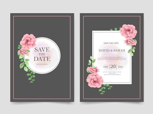 Modelo de convite de casamento linda flor rosa