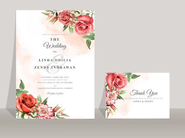 Modelo de convite de casamento linda rosa vermelha