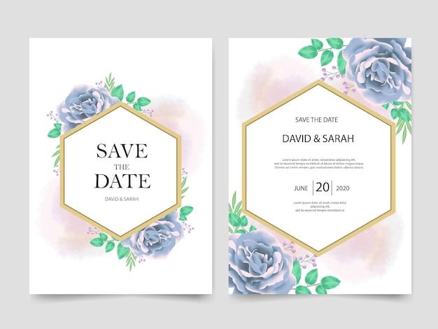 Modelo de convite de casamento lindo azul aquarela flor
