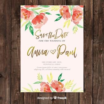 Modelo de convite de casamento lindo com flores de peônia aquarela