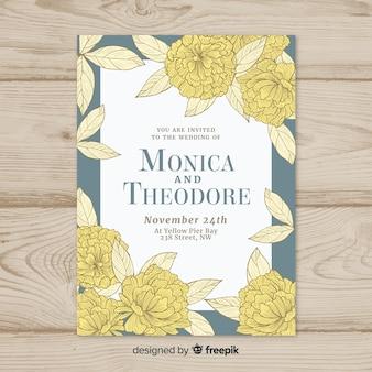 Modelo de convite de casamento lindo com flores de peônia