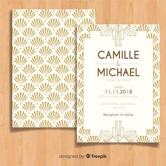 Modelo de convite de casamento lindo em estilo art deco