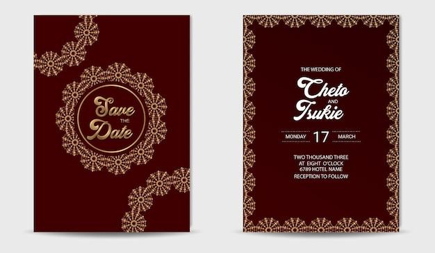 Modelo de convite de casamento luxuoso com moldura dourada