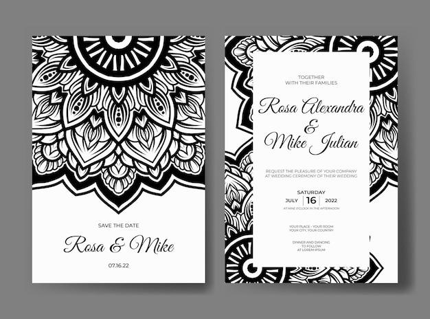 Modelo de convite de casamento mandala preto e branco premium