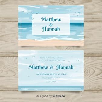 Modelo de convite de casamento marinho