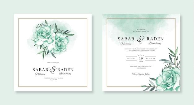 Modelo de convite de casamento minimalista com flores em aquarela