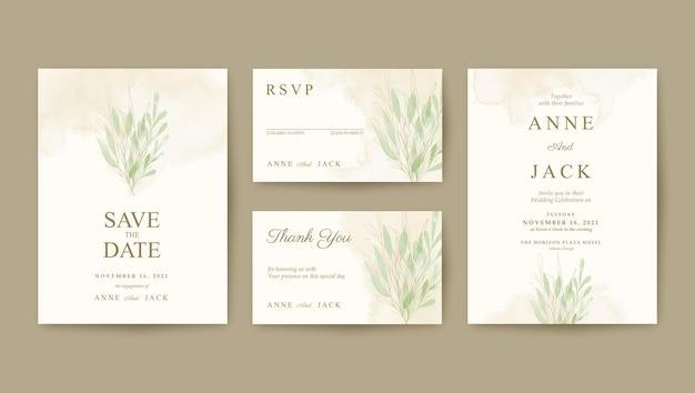 Modelo de convite de casamento minimalista com folhas verdes e douradas
