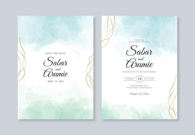 Modelo de convite de casamento minimalista com mancha de aquarela