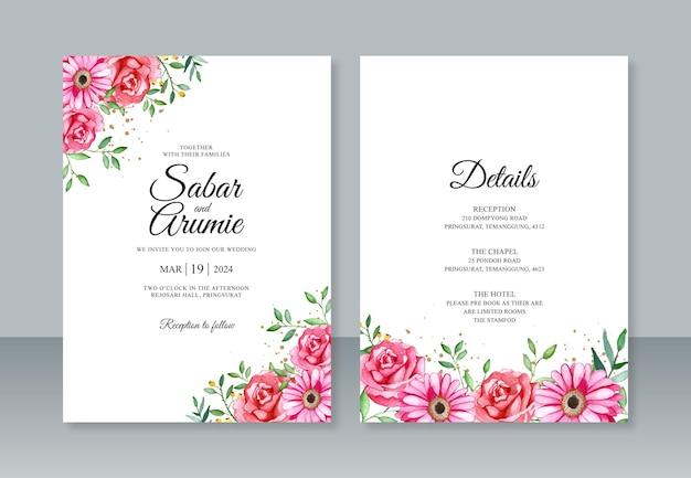 Modelo de convite de casamento minimalista com pintura à mão em aquarela floral