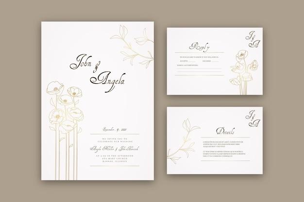 Modelo de convite de casamento minimalista desenhado à mão