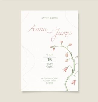 Modelo de convite de casamento minimalista em aquarela pintada à mão