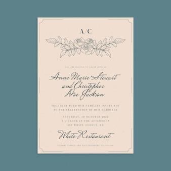 Modelo de convite de casamento mínimo desenhado à mão com gravura