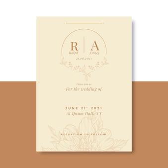 Modelo de convite de casamento mínimo desenhado à mão com gravura Vetor grátis