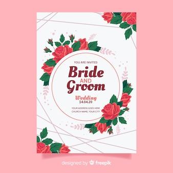Modelo de convite de casamento no design plano